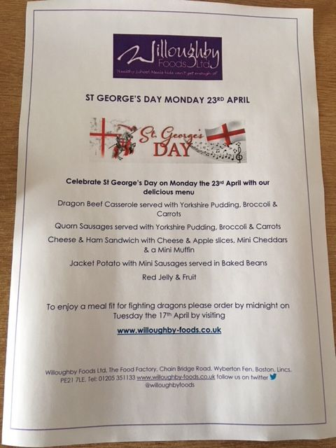 St George's Day Menu